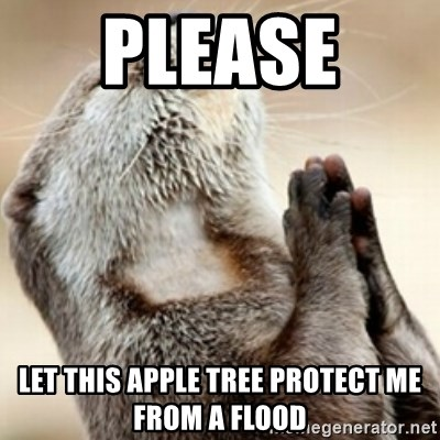 Praying Otter - Please  Let this apple tree protect me from a flood