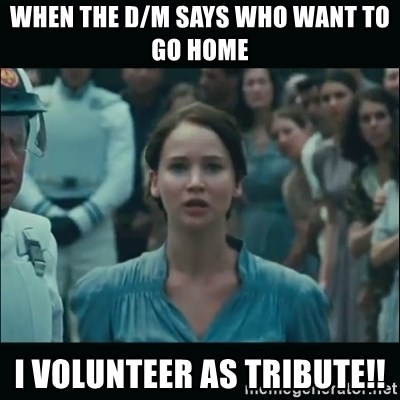 I volunteer as tribute Katniss - When the D/M says who want to go home I VOLUNTEER AS TRIBUTE!!