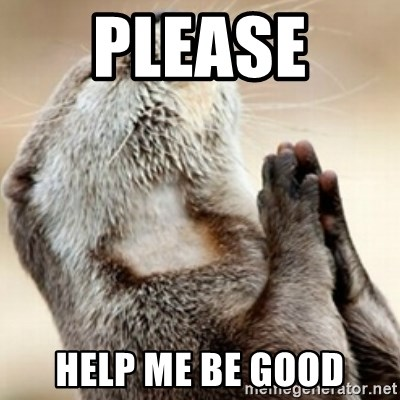 Praying Otter - please  help me be good