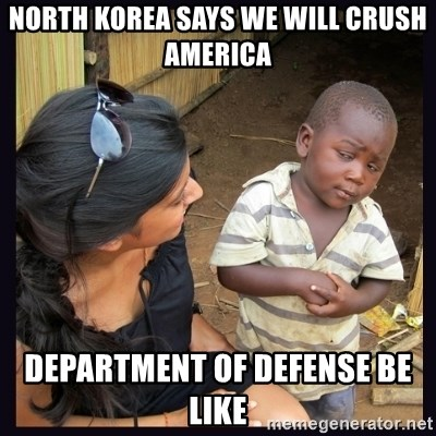 Skeptical third-world kid - north korea says we will crush America Department of defense be like