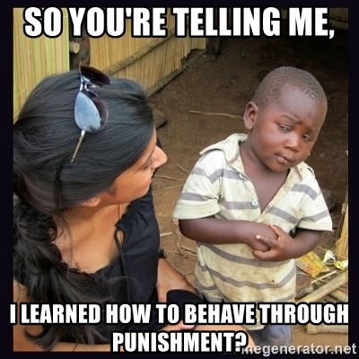 Skeptical third-world kid - So you're telling me, I learned how to behave through punishment?