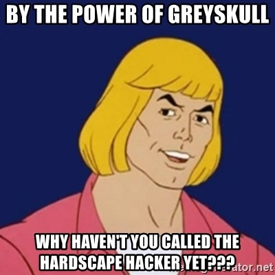 He-man1 - by the power of greyskull why haven't you called The hardscape hacker yet???