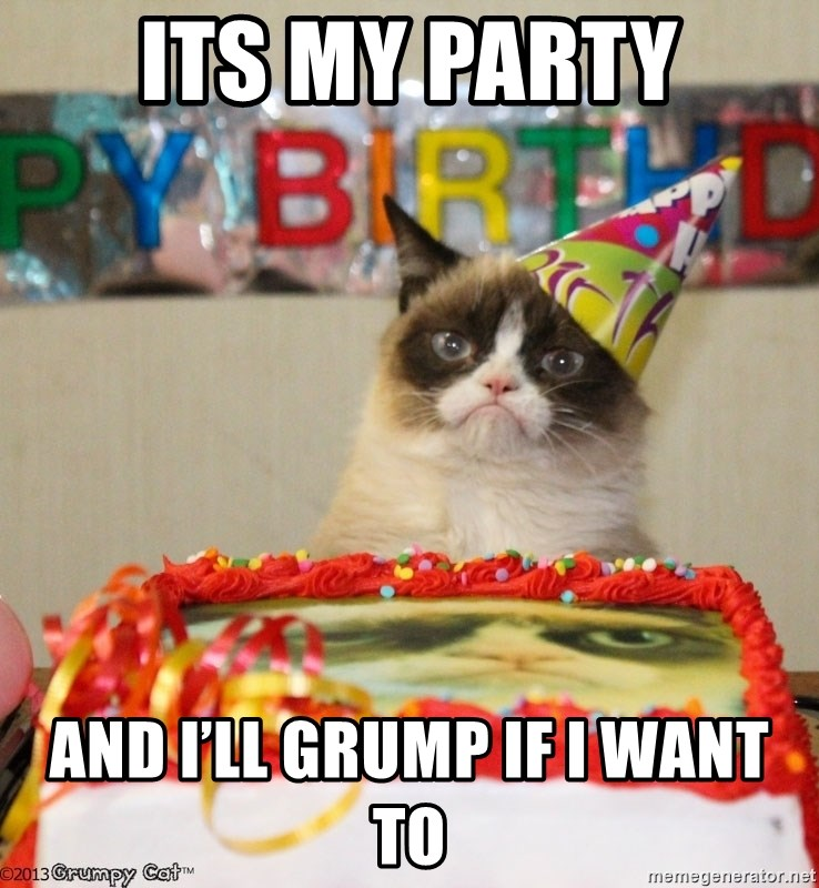 Grumpy Cat Birthday hat - Its my party And I'll grump if I want to