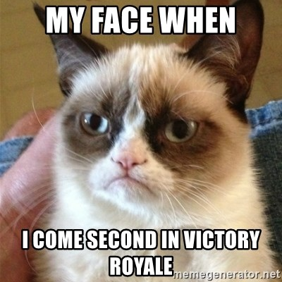 Grumpy Cat  - My face when  I come second in victory Royale