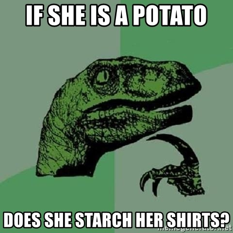 Philosoraptor - if she is a potato does she starch her shirts?