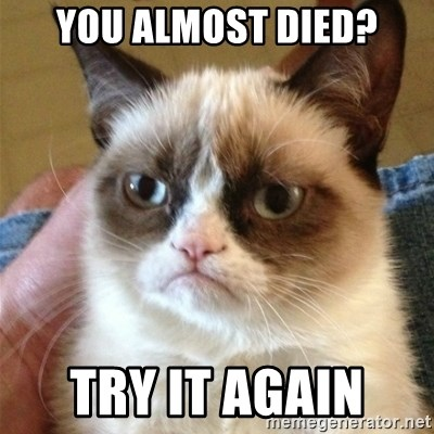 Grumpy Cat  - You almost died? Try it again