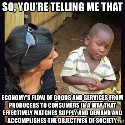 Skeptical third-world kid - So, you're telling me that economy's flow of goods and services from producers to consumers in a way that effectively matches supply and demand and accomplishes the objectives of society.
