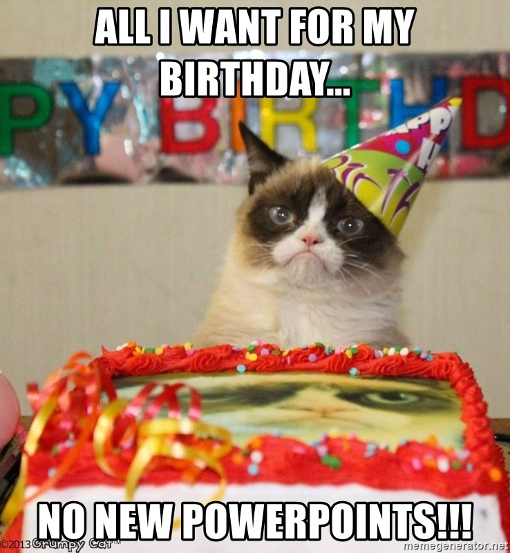 Grumpy Cat Birthday hat - ALL I WANT FOR MY BIRTHDAY... NO NEW POWERPOINTS!!!