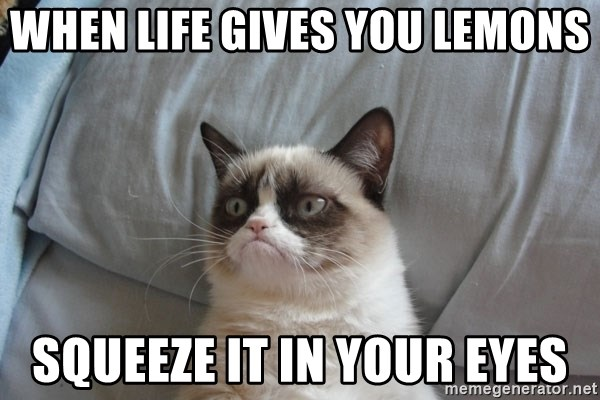 Grumpy cat good - When life gives you lemons Squeeze it in your eyes