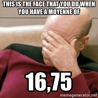 Face Palm - This is the face that you do when you have a moyenne of 16,75