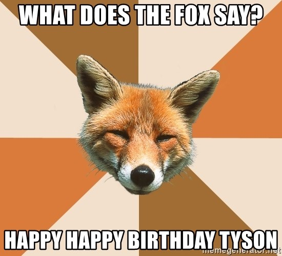 Condescending Fox - What does the fox say? Happy happy birthday Tyson