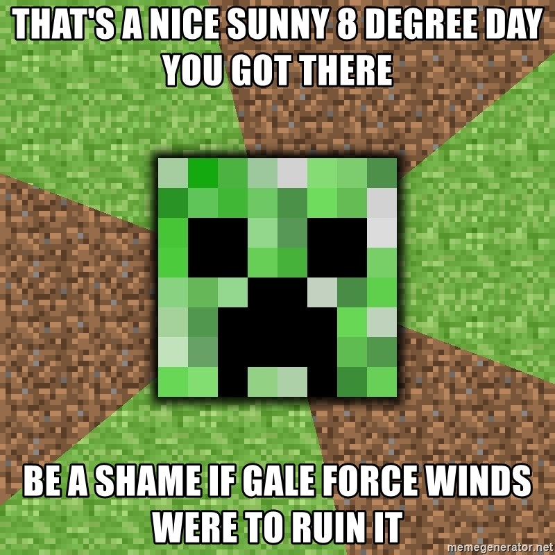 Minecraft Creeper - That's a nice sunny 8 degree day you got there be a shame if gale force winds were to ruin it