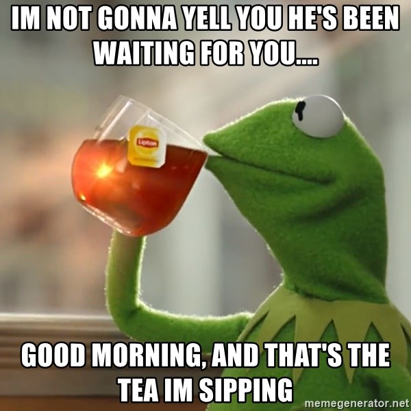 Kermit The Frog Drinking Tea - IM NOT GONNA YELL YOU HE'S BEEN WAITING FOR YOU.... GOOD MORNING, AND THAT'S THE TEA IM SIPPING