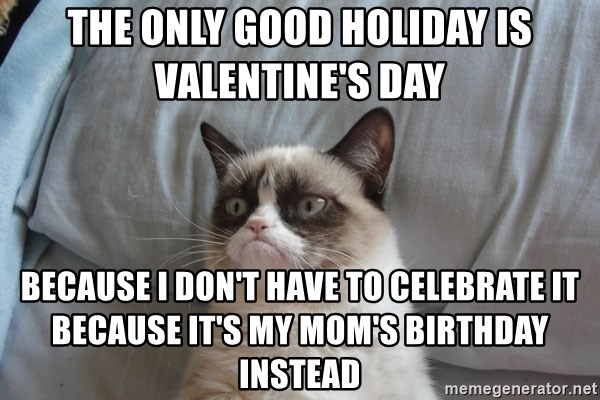 Grumpy cat good - The only good holiday is valentine's day  Because I don't have to celebrate it because it's my mom's birthday instead