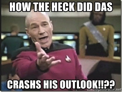 star trek wtf - How the heck did Das Crashs his Outlook!!??