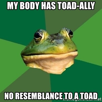 Foul Bachelor Frog - my body has toad-ally no resemblance to a toad