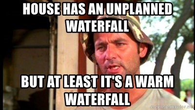Bill Murray Caddyshack - House has an unplanned waterfall But at least it's a warm waterfall
