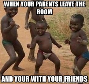 african children dancing - when your parents leave the room and your with your friends