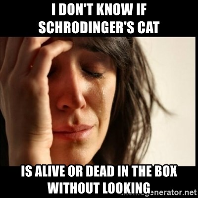 First World Problems - I don't know if Schrodinger's cat is alive or dead in the box without looking