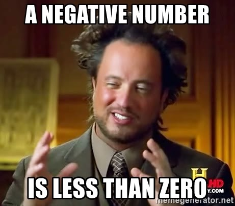 Ancient Aliens - A negative number  Is less than zero