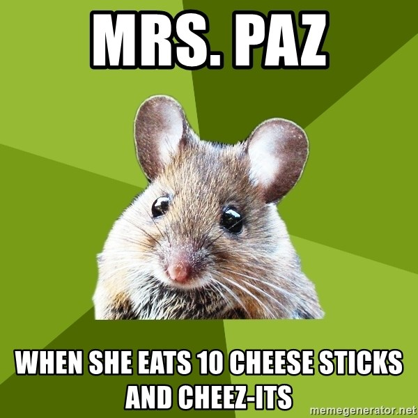 Prospective Museum Professional Mouse - Mrs. Paz when she eats 10 cheese sticks and cheez-its