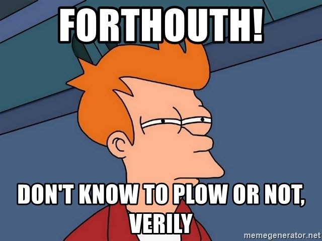 Futurama Fry - Forthouth!  Don't know to plow or not, verily