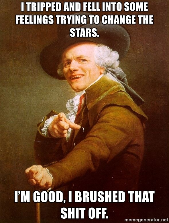 Joseph Ducreux - I tripped and fell into some feelings trying to change the stars. I'm good, I brushed that shit OFF.