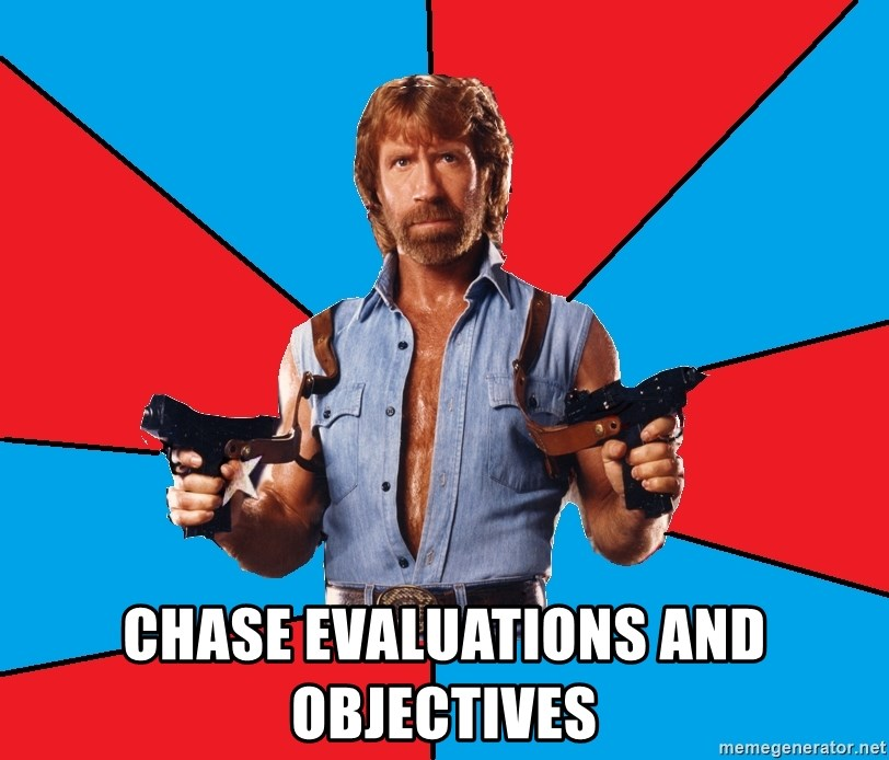 Chuck Norris  - Chase evaluations and objectives
