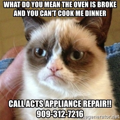 Grumpy Cat  - what do you mean the oven is broke and you can't cook me dinner call ACTS Appliance Repair!! 909-312-7216