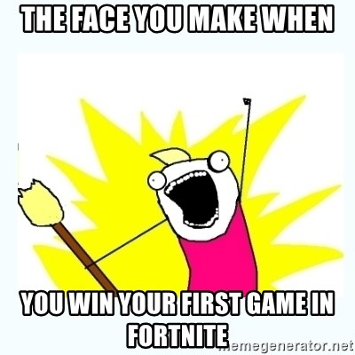 All the things - The face you make when You win your first game in Fortnite