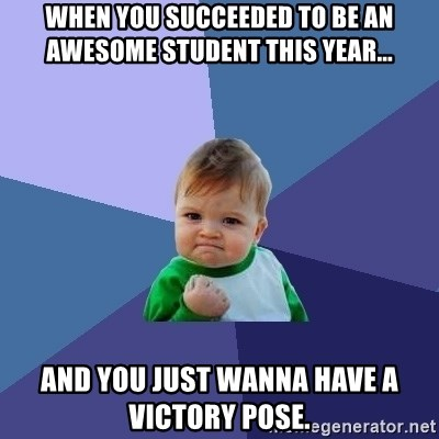 Success Kid - when you succeeded to be an awesome student this year... and you just wanna have a victory pose.