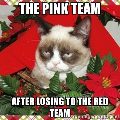Grumpy Christmas Cat - The Pink Team After Losing To The Red Team
