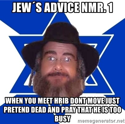 Advice Jew - Jew´s advice nmr. 1 When you meet hrib dont move just pretend dead and pray that he is too busy