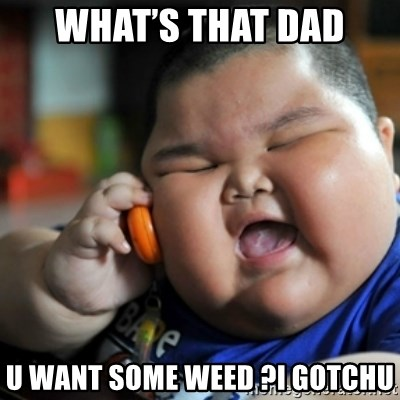 fat chinese kid - What's that dad U want some weed ?I gotchu