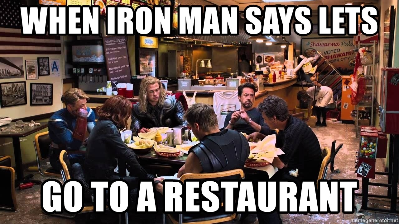 Avengers w Broaster Chicken - When iron man says lets go to a restaurant