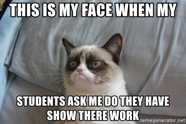 Grumpy cat good - this is my face when my students ask me do they have show there work