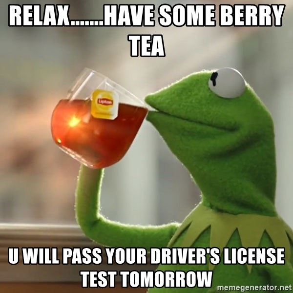 Kermit The Frog Drinking Tea - Relax.......have some berry tea U will pass your driver's license test tomorrow