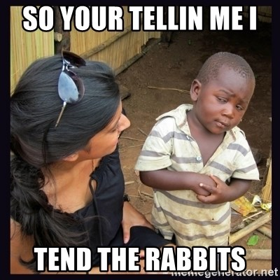 Skeptical third-world kid - so your tellin me i  tend the rabbits