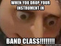 the man of gru - when you drop your instrument in  BAND CLASS!!!!!!!!