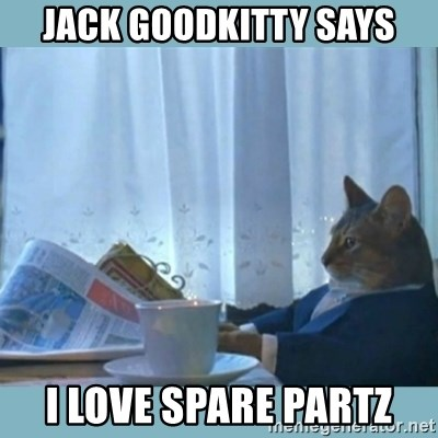 rich cat  - Jack Goodkitty says I love spare partz