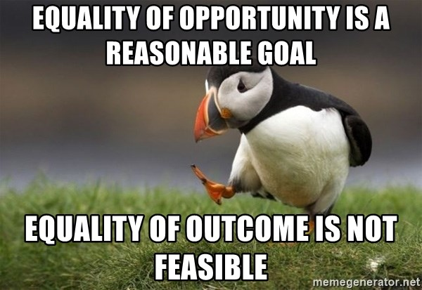 Unpopular Opinion Puffin - Equality of opportunity is a reasonable goal Equality of outcome is not feasible