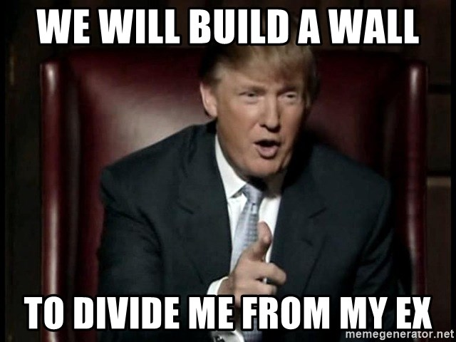 Donald Trump - We will build a wall To divide me from my ex