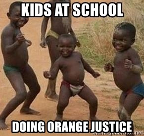african children dancing - KIds at school Doing orange justice