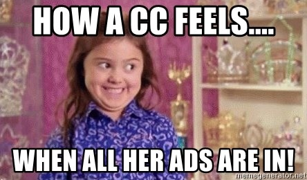 Girl Excited & Trolling - How a CC feels.... when all her ads are in!