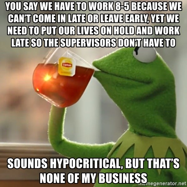 Kermit The Frog Drinking Tea - You say we have to work 8-5 because we can't come in late or leave early, yet we need to put our lives on hold and work late so the supervisors don't have to Sounds hypocritical, but that's none of my business