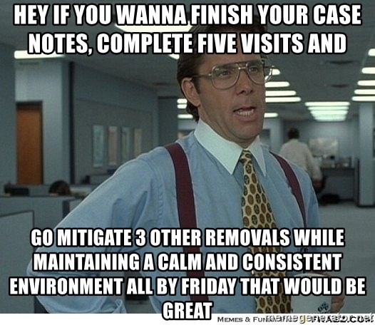 That would be great - Hey if you wanna finish your case notes, complete five visits and  Go mitigate 3 other removals while maintaining a calm and consistent environment all by Friday that would be great