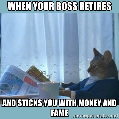 rich cat  - when your boss retires and sticks you with money and fame