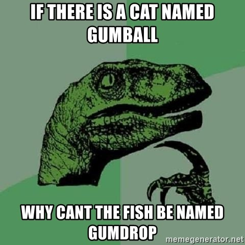 Philosoraptor - if there is a cat named gumball why cant the fish be named gumdrop