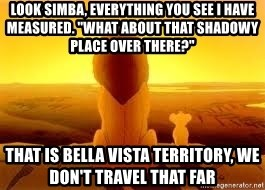 "The Lion King - LOOK SIMBA, EVERYTHING YOU SEE I HAVE MEASURED. ""WHAT ABOUT THAT SHADOWY PLACE OVER THERE?"" THAT IS BELLA VISTA TERRITORY, WE DON'T TRAVEL THAT FAR"