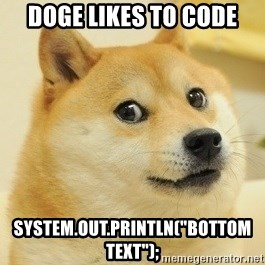 "Dogeeeee - Doge likes to code System.out.println(""bottom text"");"